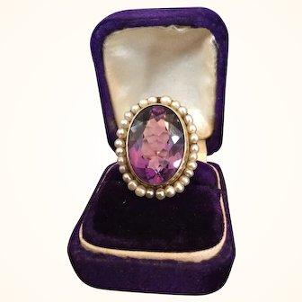 Victorian 14K Gold Amethyst 20+ Carat Seed Pearl Ring Hinged Shank
