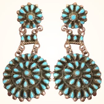 Zuni Petit Point Sterling Native American Earrings