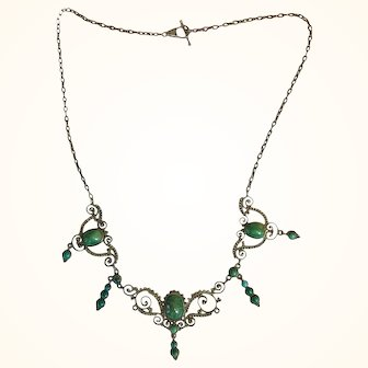 Victorian Silver and Turquoise Festoon Necklace