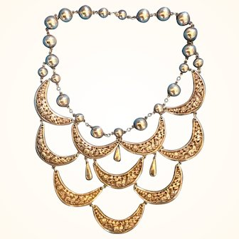 Gorgeous Chinese Silver Repousse Bib Necklace