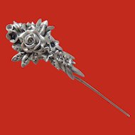 Gorham Sterling Flowered Stick Pin