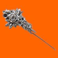 Gorham Sterling Flowered Stick Pin