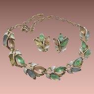 Magnificent Molded Opalescent Leaf Set