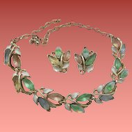 Magnificent Molded Opalescent Leaf Set