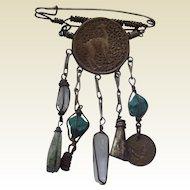 Vintage Peruvian Brass & Stone Brooch