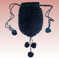 Aqua Blue Glass Beaded Draw String Purse