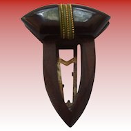 Art Deco Bakelite & Wood Dress Clip