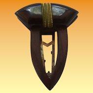 Art Deco Bakelite & Wood Dress Clip