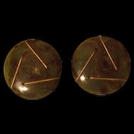 End of Day Bakelite Earrings W/ Gold Wire Accents