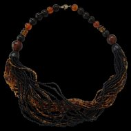 Bakelite & Glass Seed Bead Necklace