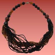Bakelite & Glass Seed Bead Necklace