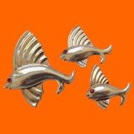 3 Sterling Vermeil Fish Pins