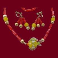 Italian Art Glass Fish Necklace & Earrings