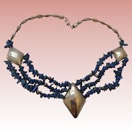 Stunning Sterling Silver & Lapis Necklace