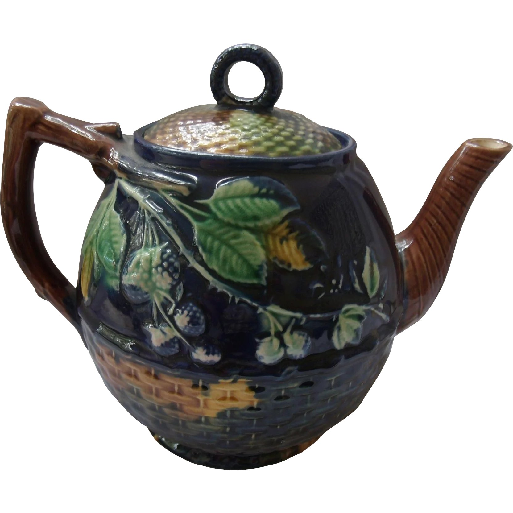 Antique Majolica Teapot Cobalt Blackberry & Basketweave : Antiquel