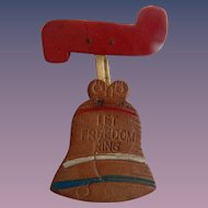 "Leather Liberty Bell Brooch ""Let Freedom Ring"""
