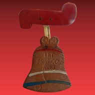 """Leather Liberty Bell Brooch """"Let Freedom Ring"""""""