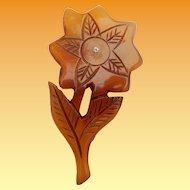 Huge Carved Lucite Flower Brooch