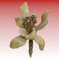 Har Enameled Orchid Brooch