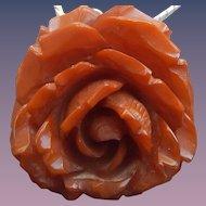 Sterling & Carved Bakelite Rose Necklace/Pendant