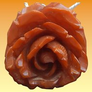 Sterling & Carved Bakelite Rose Necklace/Pendant