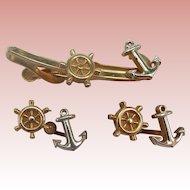 Swank 2 Tone Nautical Tie Clip & Cuff Set
