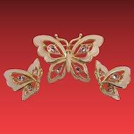 Trifari Pink Enameled Butterfly Set