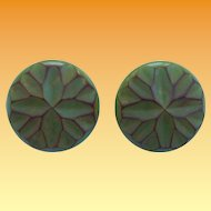 Carved Green Bakelite Earrings