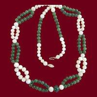 Unique Beaded Jade & MOP Necklace 14K Clasp