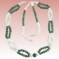 Jade & Mother Of Pearl Beaded Necklace