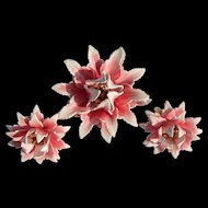 1950's Trifari Enameled Flower Set