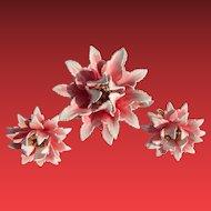 1950's Trifari Enameled Flower Set