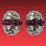 Ciner Red Stone Moghul Earrings