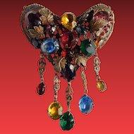 Early Czech Dangling Heart Brooch