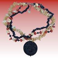 Asian Coral, MOP & Silver Dragon Necklace