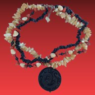 Asian Coral, MOP & Silver Dragon Necklace