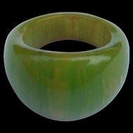 Green Swirl Bakelite Ring