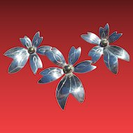LG Sterling Flower Brooch & Earrings