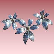 LG Sterling Flower Brooch & Earrings