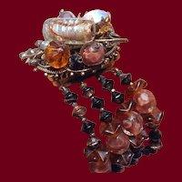 Chunky Beaded Art Glass Bracelet