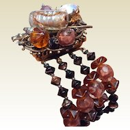 Chunky Beaded Art Glass Bracelet