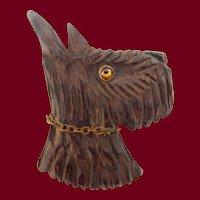 LG Carved Wood Scottie Dog Brooch