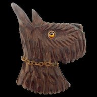 LG Carved Wood Scottie Dog Brooch