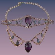 Purple Rhinestone Necklace & Bracelet