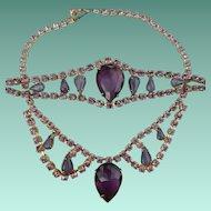 Purple Rhinestone Necklace & Bracelet
