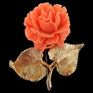 Large Accessocraft Carved Rose Brooch