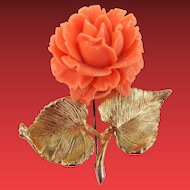 Large Accessocraft Carved Rose Brooch