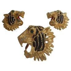 Vintage Tiger Brooch & Earrings