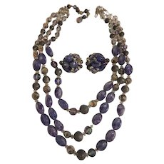 Hobe Crackled Purple & Pewter Necklace & Earrings