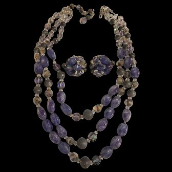 Hobe Purple & Pewter Necklace & Earrings